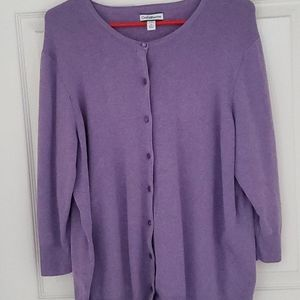 3/4 Sleeve Full Button Cardigan Sweater - Lavender